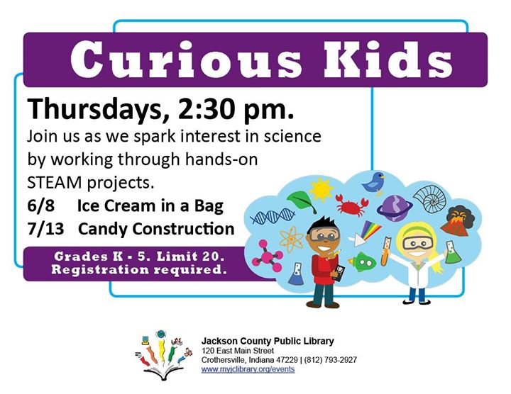 Kids are naturally curious, K-5 can join in the science themed fun of Curious Kids at the Crothersvi...