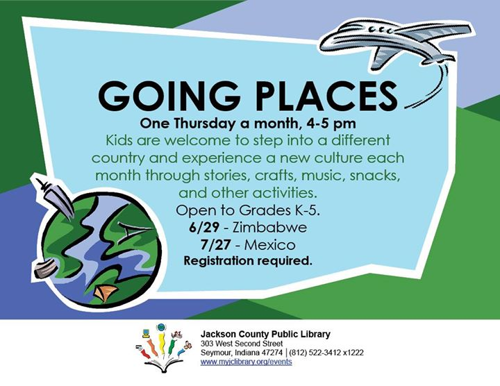 Join our Going Places program in the Kidz Korner.  Each month we travel to a new country, learn abou...
