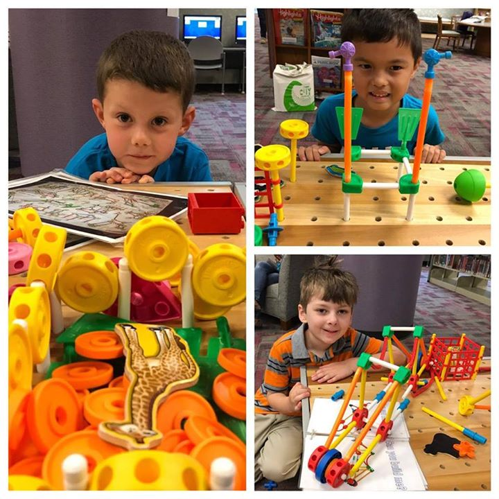 Junior engineers in the Kidz Corner were busy building a giraffe pen, suspension bridge, and securit...