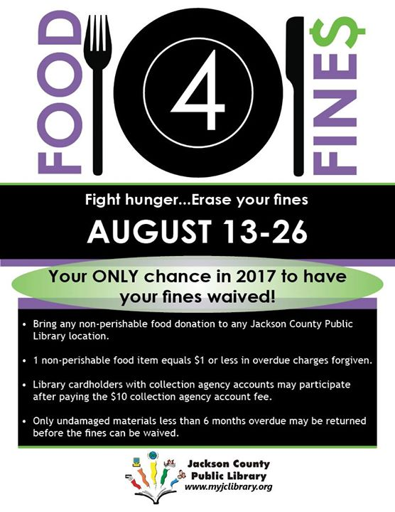 Accepting Food for Fines now through August 26!