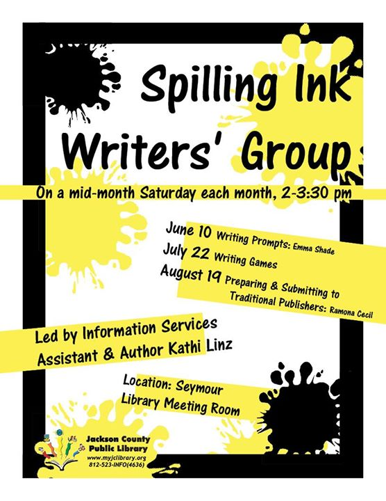 Spilling Ink Writers' Group is this Saturday, 8/19, at the Seymour Library!
