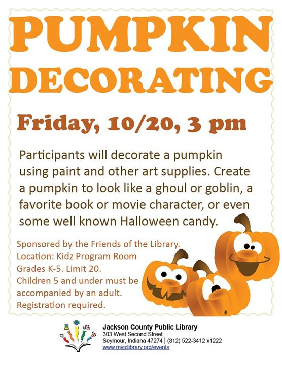 Register your child to decorate a pumpkin at the Seymour library!   This program is open to kids K-5...