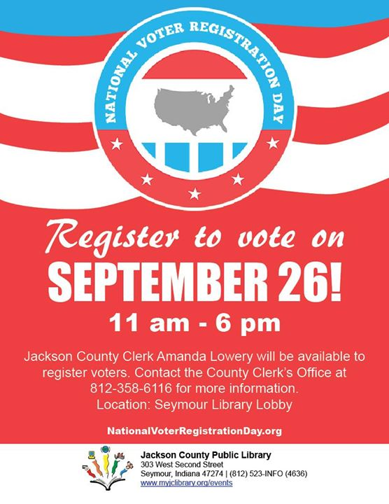 Register to vote at the library on September 26!  Amanda Lowery will be available to register voters...