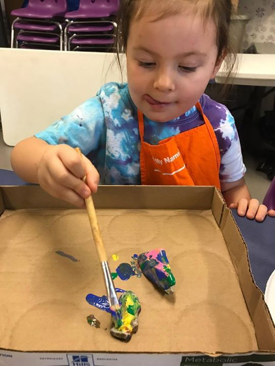 Today's theme:  ROCKS! Miss Angie read the book A Rock Can Be... (by Laura Purdie Salas), which talk...
