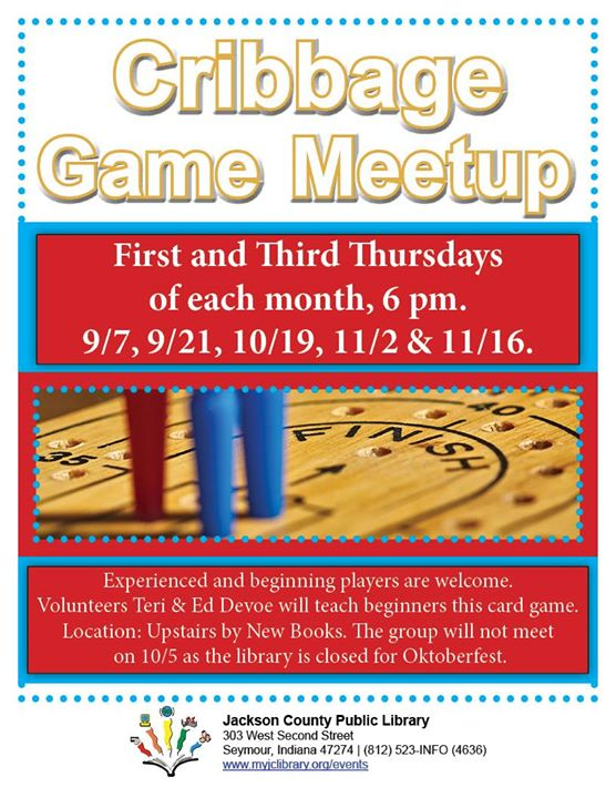 Play cribbage at the Seymour Library on the first and third Thursdays of each month!
