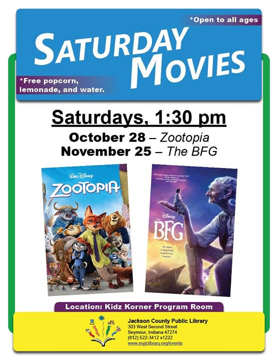 Join us November 25 to watch the BFG in the Seymour Kidz Korner.  All ages invited.