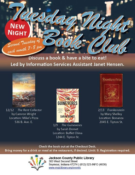 The Friday Night Book Club has a new night!  The Tuesday Night Book Club, formerly Friday, will meet...