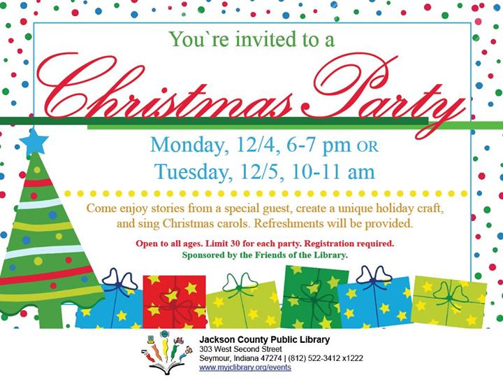 Sign your child up for the Seymour library's Christmas party!   Register for either Monday evening h...