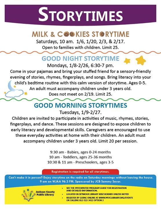 While we take a break in December, Storytimes at the Seymour library will resume in January.   Regis...