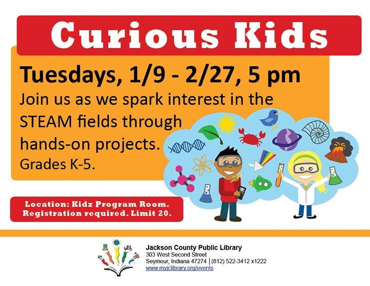Curious Kids is a fun science program every Tuesday at the Seymour library.   Come try fun experimen...