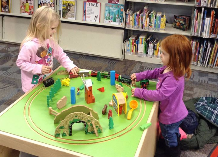 A little train time with our 3branch discovery mini activity table at Jackson County Public Library!