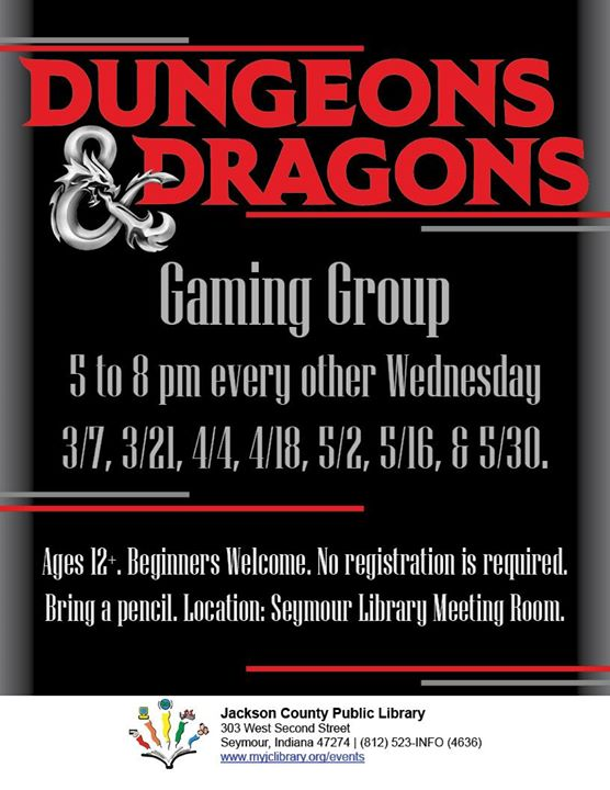 Play Dungeons & Dragons at the Seymour Library every other Wednesday!