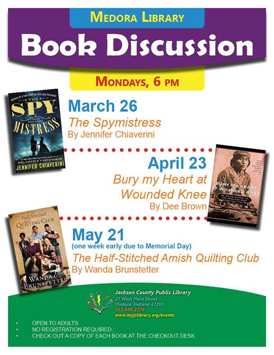 "The Medora Book Discussion group will read ""Bury My Heart at Wounded Knee"" by Dee Brown.  Pick up a ..."