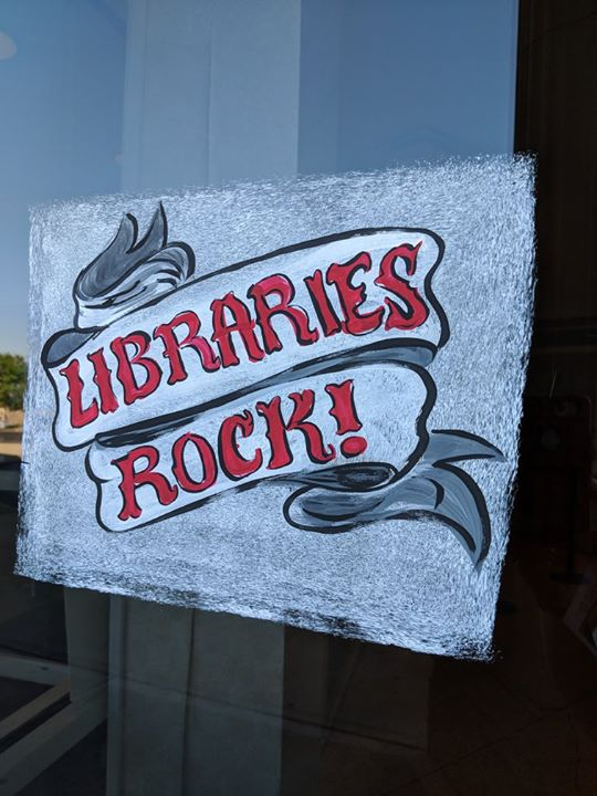 Libraries Rock!  So does this great window art!  A big thank you goes to artist Sharon Schurman and ...