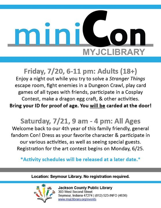 We are only one week away from miniCon! This Friday we will be having an adults only night to be fol...