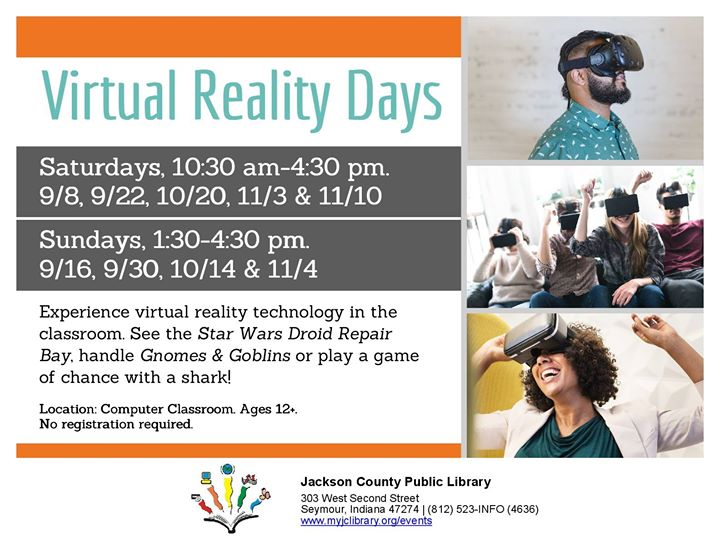 Have you tried Virtual Reality?  Stop by the Seymour Library and see what it is like!