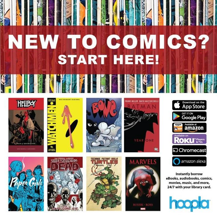 Try a graphic novel on hoopla!  Download the app and sign up for a free account with your JCPL libra...