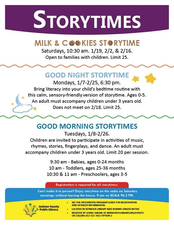 We have a variety of story times that are open for registration now!   http://myjclibrary.evanced.in...