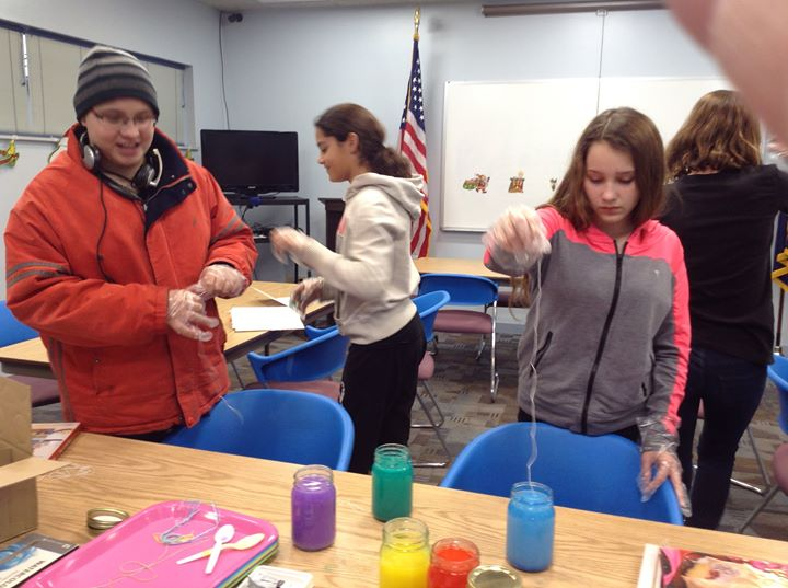 The teens of Crothersville made art using watercolors, string, and paper.