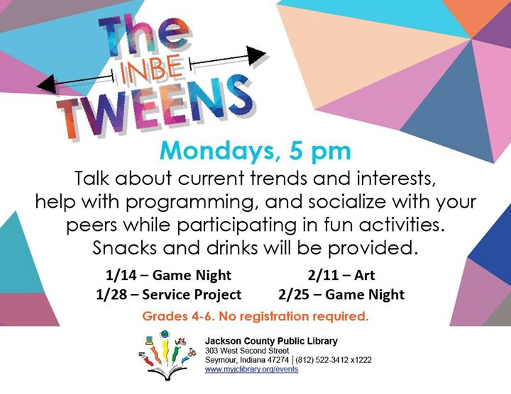 Grades 4-6 are welcome to join us for The InbeTWEENS to talk about current trends and interests, hel...