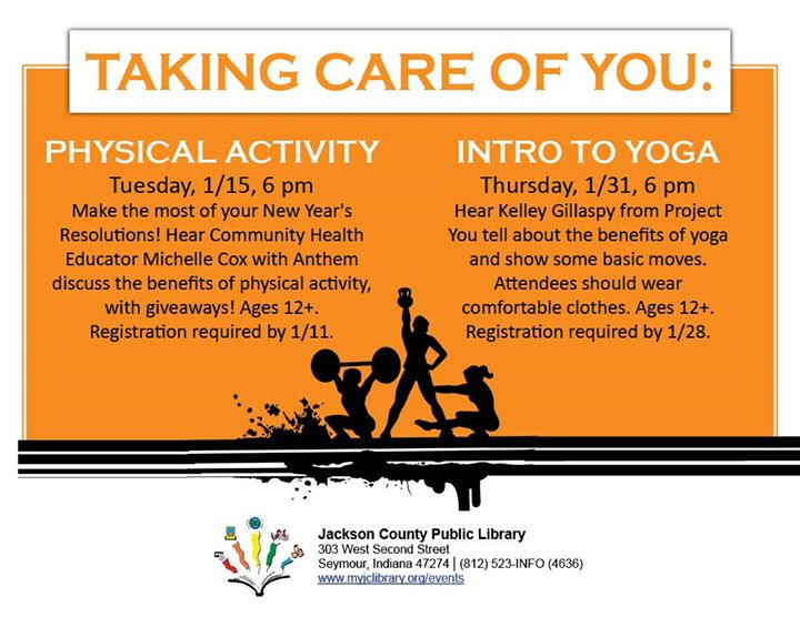 Sign up for Intro to Yoga by 1/28 at https://bit.ly/2PIe675 or call 812-523-INFO (4636).
