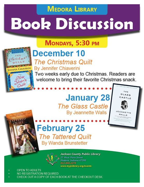 "Join our discussion of Jeannette Walls' ""The Glass Castle"" at the Medora Library on 1/28.  Books are..."