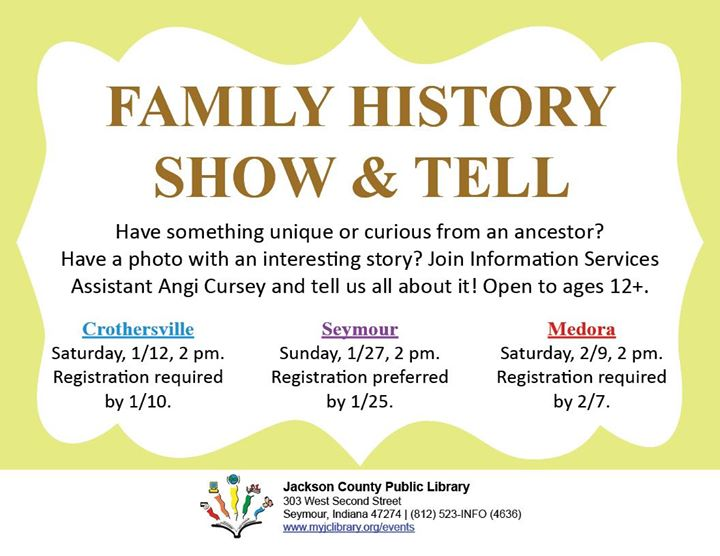 Register for the Seymour Family History Show & Tell at https://bit.ly/2UNUgLo by 1/25 or the Med...