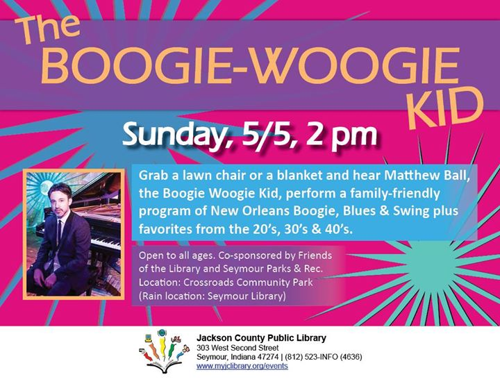 Bring the whole family to Crossroads Park in Seymour on 5/5 to hear Matthew Ball, the YouTube Boogie...