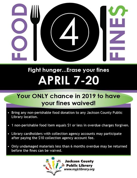 Take advantage of our only Food 4 Fines event for 2019, which ends Saturday!  Please call 812-522-34...