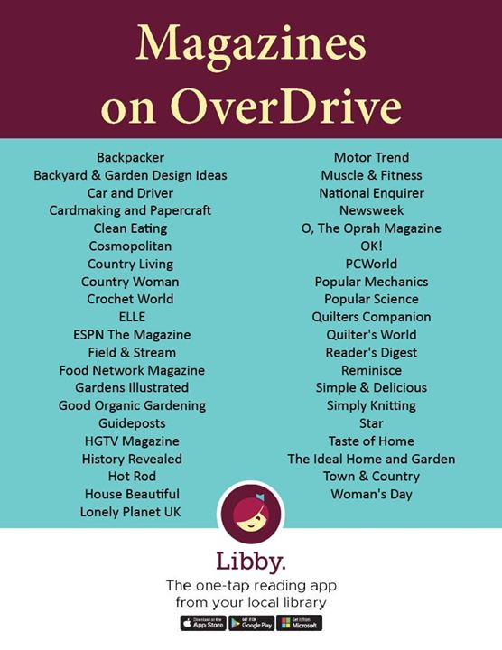 Check out magazines through the Libby app!  Create a free account with your library card and read an...