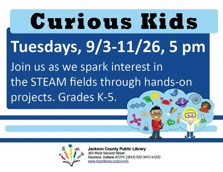 Kids in Grades K-5 are welcome to come to this STEAM-based Curious Kids class every Tuesday!